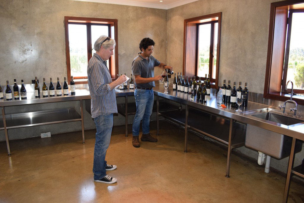 4. Larry and Steve tasting, Cellar Door, Wilyabrup Vineyard